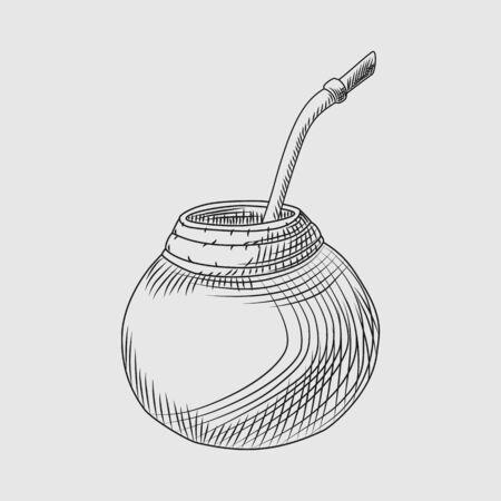Kalebasse für Yerba Mate-Getränk. Mate-Tee-Gravur-Stil-Vektor-Illustration. Vektorgrafik
