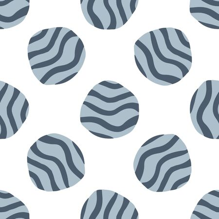 Doodle pebble seamless pattern on white background.