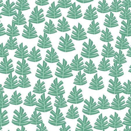 Hand drawn green tree seamless pattern. Doodle forest background. Design for fabric, textile print, wrapping paper, children textile