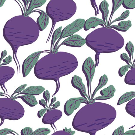 Hand drawn beet seamless pattern on white background. Doodle beetroot wallpaper. Vector illustration