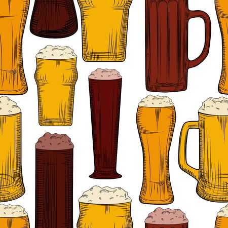 Beer mug seamless pattern. Full beer glasses with foam backdrop. Engraving style. Alcoholic beverage design. Hand drawn vector illustration on white background 向量圖像