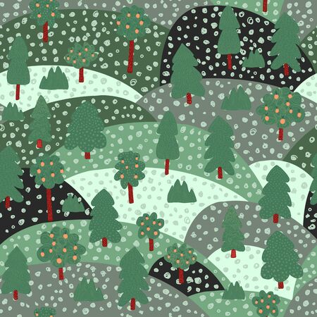 Doodle apple tree landscape background. Fruit trees seamless pattern. Naive art style. Design for fabric, textile print, wrapping paper, children textile. Vector illustration Stock Illustratie