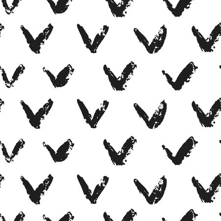 Freehand check mark seamless pattern. Abstract shapes grunge texture on white background. Vector illustration 写真素材 - 130113782