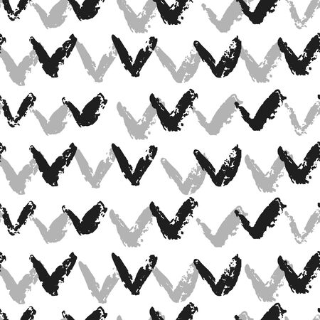 Hand drawn check mark seamless pattern. Abstract shapes grunge texture on white background. Vector illustration Ilustracja