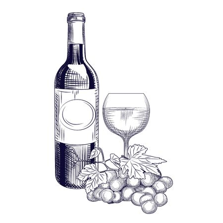 Hand drawn wine bottle, glass and grapes. Engraving style. Isolated objects. Vector illustration