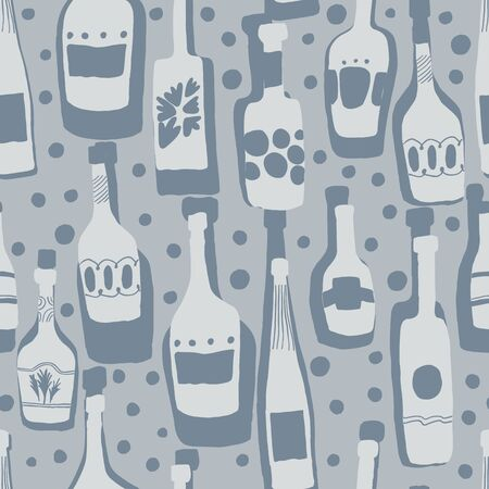 Seamless pattern background with bar bottles. Hand drawn simple different glass bottles. Vector illustration