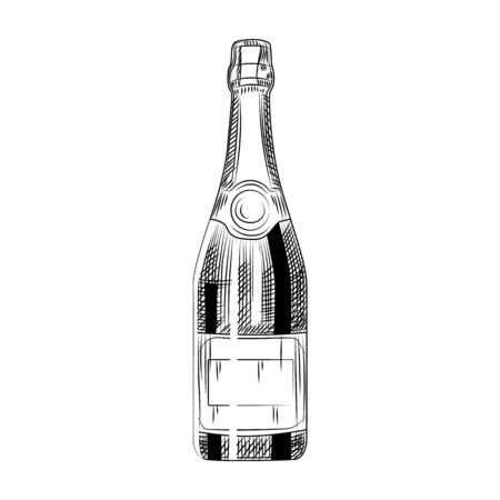 Hand drawn champagne bottle. Sparkling wine Isolated on white background. Engraving style. Vector illustration