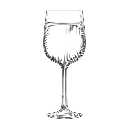 Hand drawn full wine glass sketch. Vector illustration isolated on white background. Engraving style.