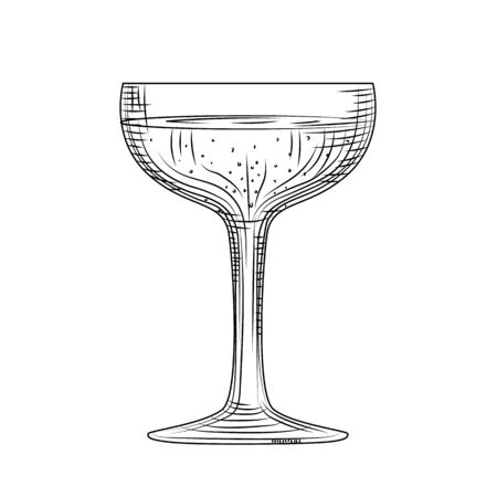 Saucer glass. Hand drawn champagne glass sketch. Full sparkling wine glass. Engraving style. Vector illustration isolated on white background.