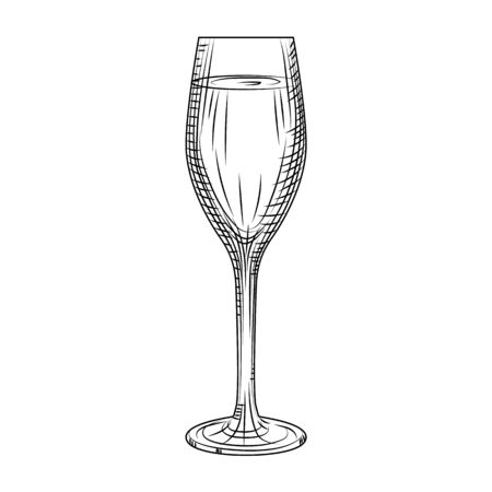 Full sparkling wine glass. Hand drawn champagne glass sketch. Engraving style. Vector illustration isolated on white background. Illusztráció