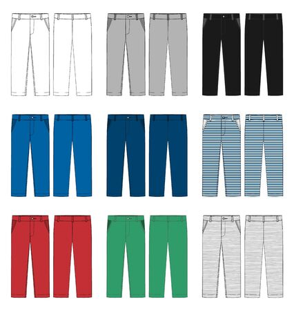 Zestaw szablonu projektu spodnie dla dzieci. Męskie spodnie. Spodnie w kolorze białym, szarym, czarnym, niebieskim, żółtym, czerwonym, zielonym. Widok z przodu iz tyłu. Szkic techniczny spodni casualowych. Ilustracja wektorowa
