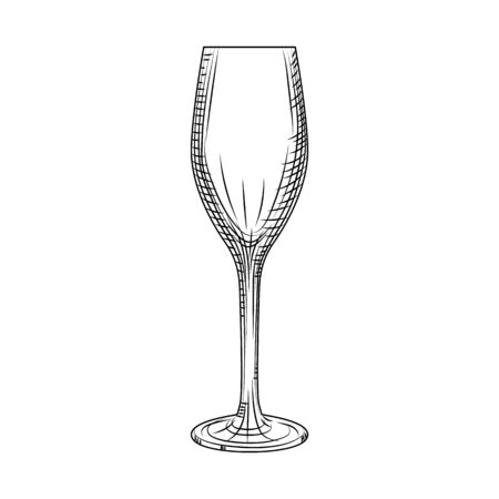 Empty sparkling wine glass. Hand drawn champagne glass sketch. Engraving style. Vector illustration isolated on white background.