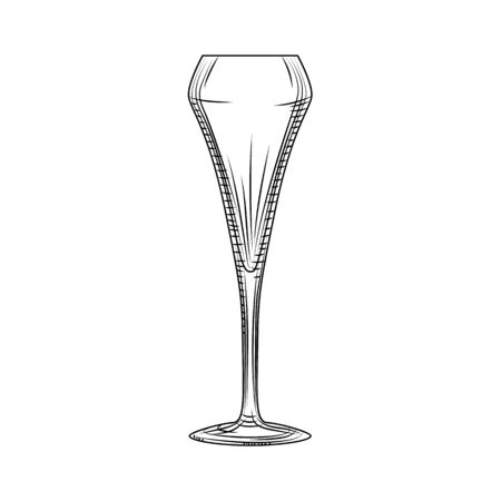 Tulip glass. Sparkling wine glass. Hand drawn empty champagne glass sketch. Engraving style. Vector illustration isolated on white background. Illusztráció