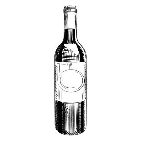 Hand drawn wine bottle. Engraving style. Isolated objects on white background. Vector illustration