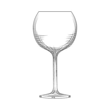 Hand drawn empty wine glass sketch. Engraving style. Vector illustration isolated on white background. Illusztráció