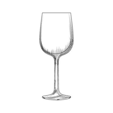 Hand drawn empty wine glass sketch. Vector illustration isolated on white background. Engraving style. Illusztráció