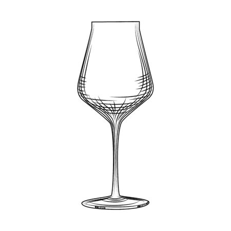 Freehand classic empty wine glass sketch. Engraving style. Vector illustration isolated on white background.