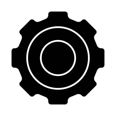 Glyph gear icon. Simple design pictogram. Vector illustration isolated