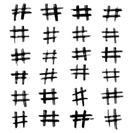 Set of hand drawn hashtag. Hash tag backdrop.