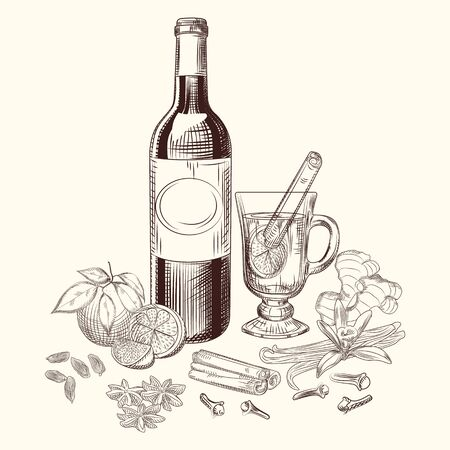 Hand drawn citrus mulled wine and spices set. Mulled wine ingredients. Ilustração