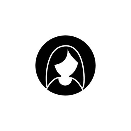 Woman head symbol. Glyph female avatar icon.