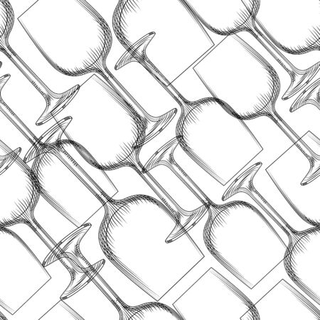 Hand drawn transparent glassware seamless pattern. Empty champagne and wine glass backdrop