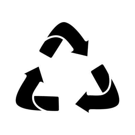 Glyph arrows recycle eco symbol. Recycled sign. Cycle recycled icon.