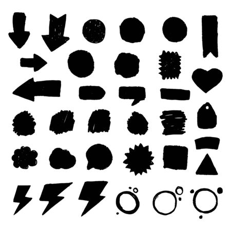 Set of circle blots in grunge style for stickers, badges. Sale stains for label, best price, discount.
