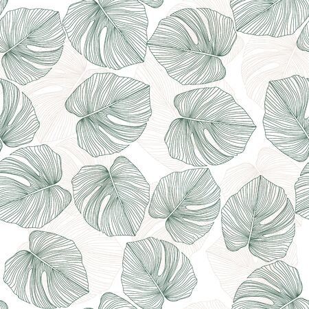 Monstera leaves seamless pattern. Tropical pattern, botanical leaf