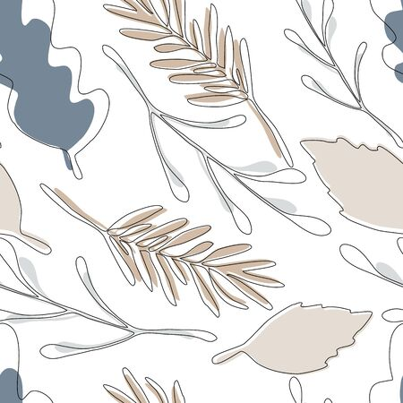 Forest leaves seamless pattern on white background. Ilustracja