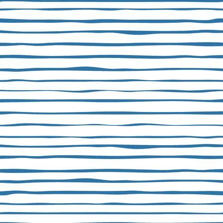 Modèle sans couture de rayures bleu marine. Papier peint à rayures dessiné à la main.