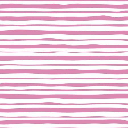 Roze strepen naadloos patroon. Hand getekend gestreept behang.