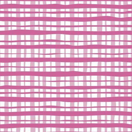 Tartan pink color seamless pattern. Hand drawn striped wallpaper. Vector Illustration