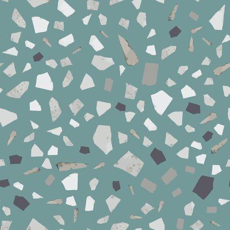 Conception de modèle sans couture de terrazzo sur fond vert. Pierre naturelle, granit, formes de quartz. Toile de fond rock texturée. Papier peint en marbre abstrait. Illustration vectorielle. Vecteurs