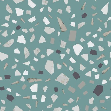 Terrazzo seamless pattern design on green background. Natural stone, granite, quartz shapes. Rock backdrop textured. Abstract marble wallpaper. Vector illustration.