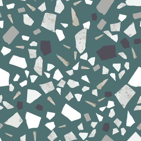 Rock backdrop textured. Abstract marble wallpaper. Terrazzo seamless pattern design on green background. Natural stone, granite, quartz shapes. Vector illustration.  イラスト・ベクター素材