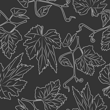 Hand drawn grapevine seamless pattern. Engraving style.