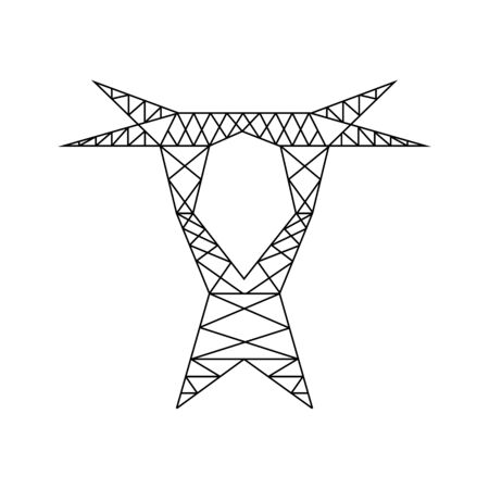 Electric power line tower pictogram. High voltage electric pylon icon. Power line symbol for web design. Vector illustration