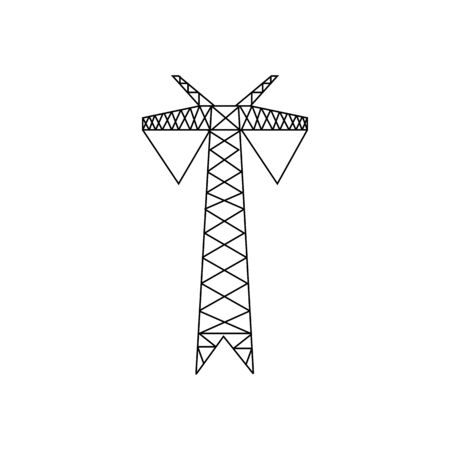 High voltage electric pylon. Power line symbol flat design. Electric power line tower icon. Icon for web design. Isolated on white background. Vector illustration