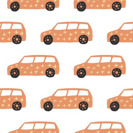 Orange car seamless pattern. Doodle cars vector illustration. Design for fabric, textile print, wrapping paper, children textile. 일러스트