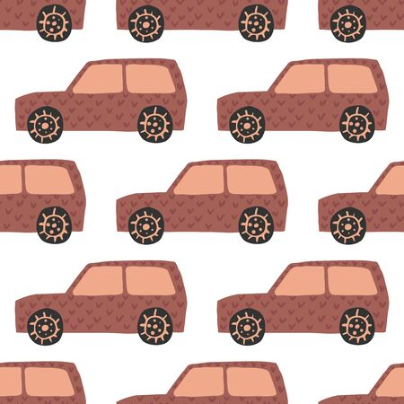 Suv seamless pattern. Doodle cars vector illustration. Design for fabric, textile print, wrapping paper, children textile. Illusztráció