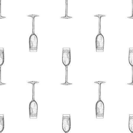 Flute glass. Hand drawn empty champagne glass sketch. Sparkling wine glass. Engraving style. Design for fabric, textile print, wrapping paper. Vector illustration Illusztráció