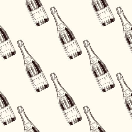 Champagne bottles seamless pattern. Sparkling wine backdrop. Engraving style. Design for fabric, textile print, wrapping paper. Vector illustration