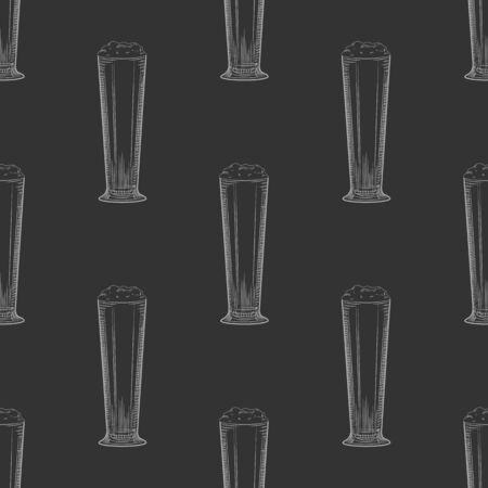 Full beer glass seamless pattern on blackboard. Beer mug with foam backdrop. Engraving style. Alcoholic beverage design. Hand drawn vector illustration on white background