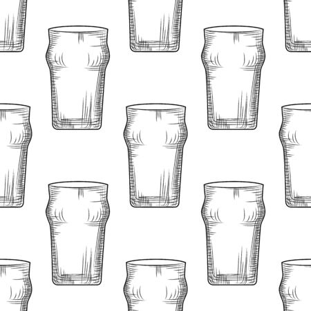 Empty beer glass seamless pattern. Beer mug backdrop. Alcoholic beverage design. Engraving style. Design for fabric, textile print, wrapping paper. Vector illustration