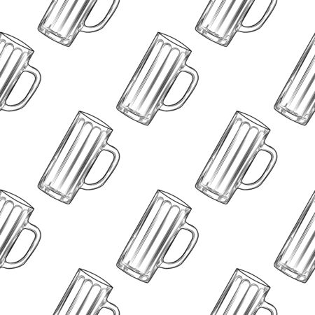 Empty beer mug seamless pattern. Beer glasses backdrop. Alcoholic beverage design. Engraving style. Design for fabric, textile print, wrapping paper. Vector illustration