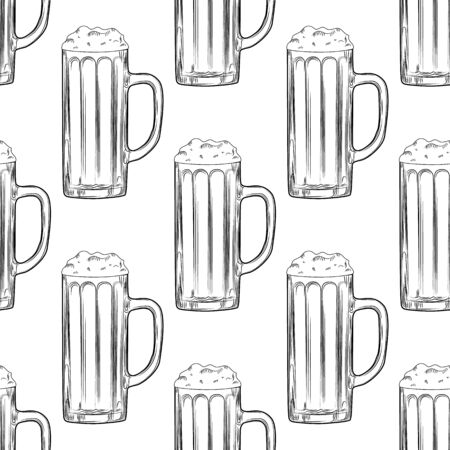 Beer mug seamless pattern. Full beer glasses with foam backdrop. Alcoholic beverage design. Engraving style. Design for fabric, textile print, wrapping paper. Vector illustration Illusztráció