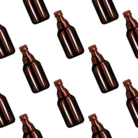 Beer bottles seamless pattern. Engraving style. Design for fabric, textile print, wrapping paper. Vector illustration