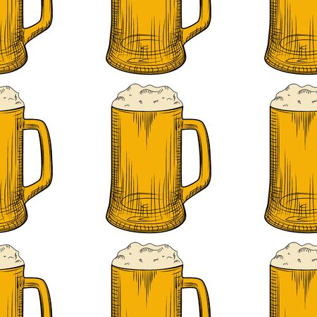 Beer mug seamless pattern. Full beer glasses with foam backdrop. Engraving style. Alcoholic beverage design. Design for fabric, textile print, wrapping paper. Vector illustration Illusztráció