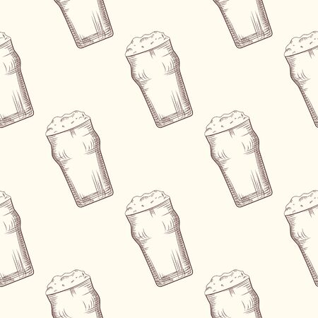Beer glass seamless pattern. Beer mug backdrop. Alcoholic beverage design. Engraving style. Design for fabric, textile print, wrapping paper. Vector illustration